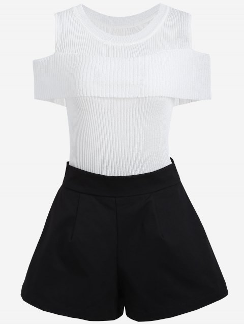 chic Cold Shoulder Knitwear and Plus Size Shorts - WHITE AND BLACK 2XL Mobile