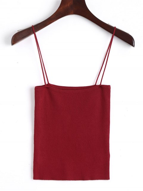 women Knitting Cami Ribbed Tank Top - RED M Mobile