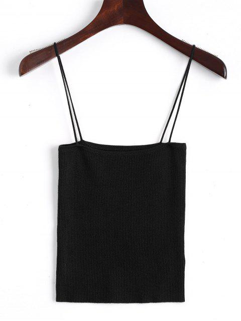 hot Knitting Cami Ribbed Tank Top - BLACK S Mobile