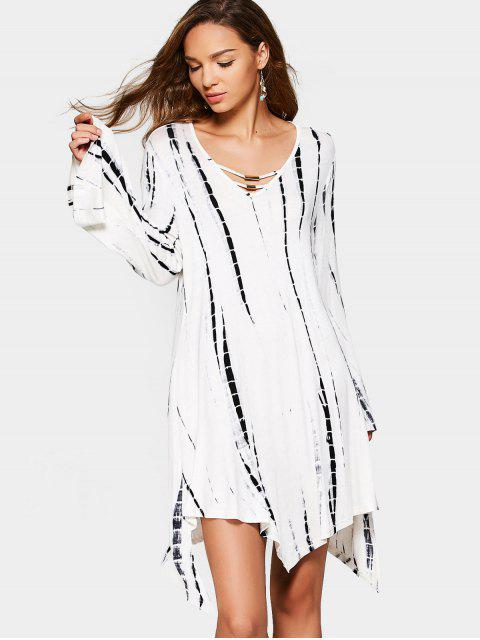 fancy Long Sleeve Tied Dyed Asymmetrical Dress - WHITE AND BLACK S Mobile