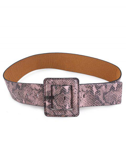 Snakeskin Design Rectangle Pin Buckle Belt - Caqui  Mobile