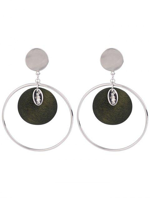 Metal Circle Round Piece Drop Earrings - Vert Armée  Mobile