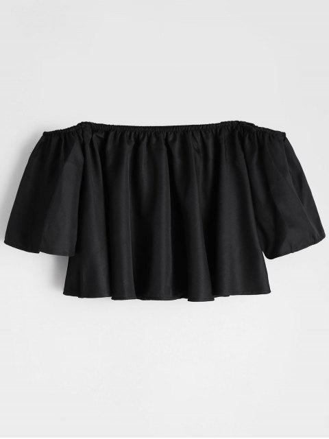 Flare Sleeve Off The Shoulder Cropped Blouse - Noir S Mobile
