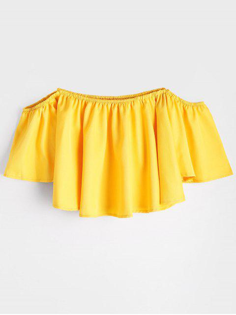 Flare Sleeve Off The Shoulder Cropped Blouse - Jaune S Mobile