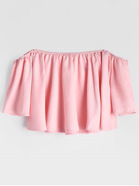 Manga de la llamarada de la blusa recortada hombro - Rosa S Mobile