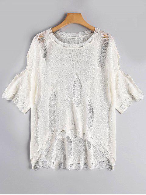 Camiseta tejida rasgada alta baja - Blanco Única Talla Mobile