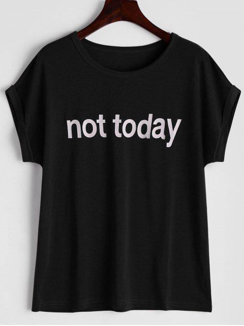 T-shirt Imprimé à Lettre Col Rond - Noir XL Mobile