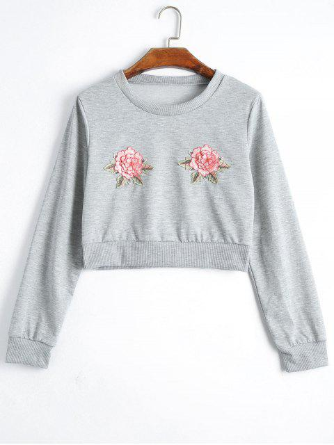 Sweat-shirt Court à Motif Floral - gris XL Mobile