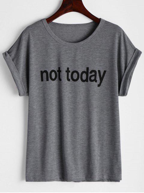 T-shirt Imprimé à Lettre Col Rond - gris S Mobile
