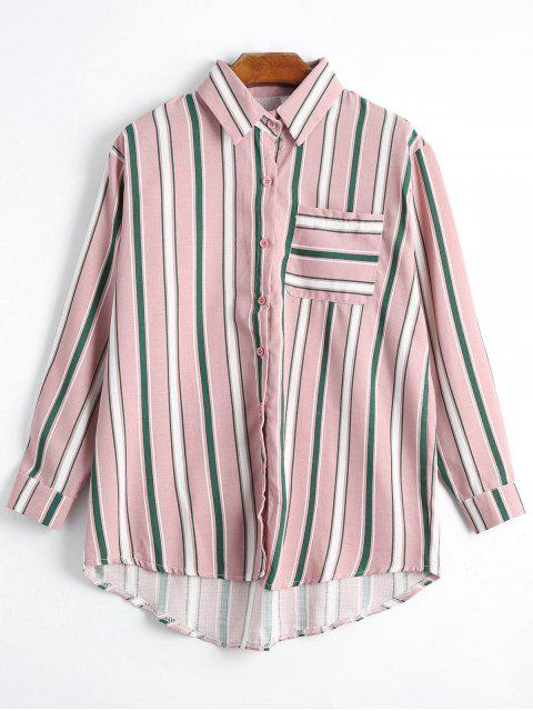 Botón encima de la camisa rayada del palangre del bolsillo - Rosa Única Talla Mobile