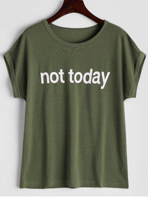 fashion Round Collar Letter Print Tee - ARMY GREEN S Mobile