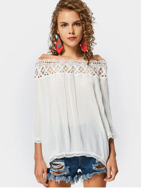 Off The Shoulder Hollow Out Blouse - Blanc M Mobile
