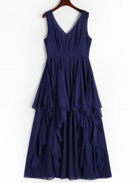 online Plunging Neck Open Back Tiered Dress - CERULEAN M Mobile