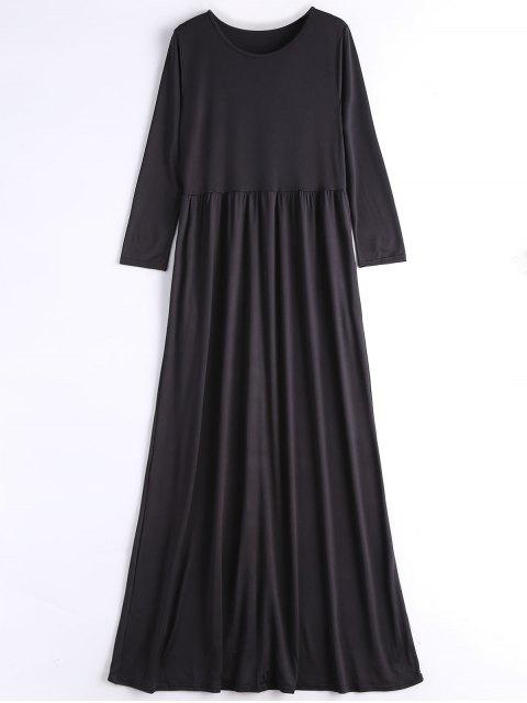 shop Long Sleeve Casual Maxi Dress - BLACK XL Mobile