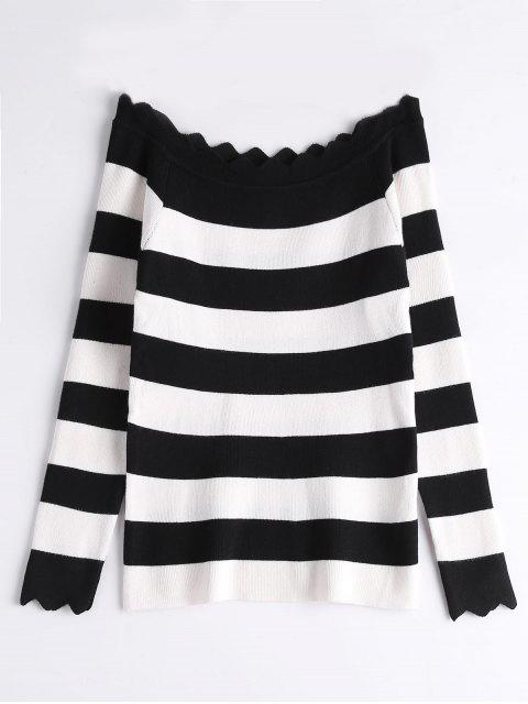 Off The Shoulder Zigzag Striped Knitted Top - Negro Talla única Mobile