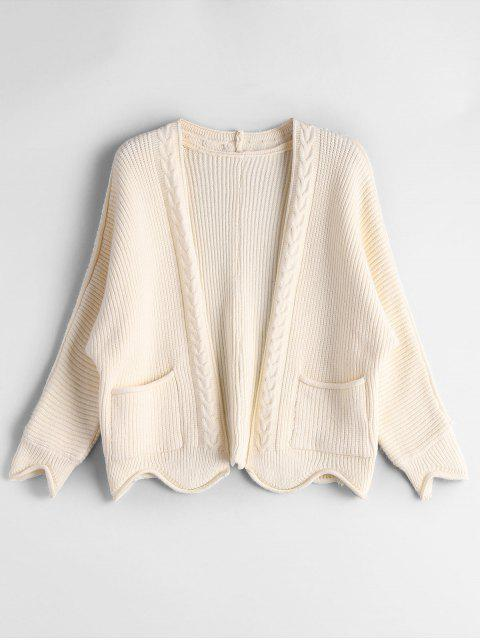 Cardigan Tressé Bordure Festonnée avec Poches - Beige Taille Unique Mobile