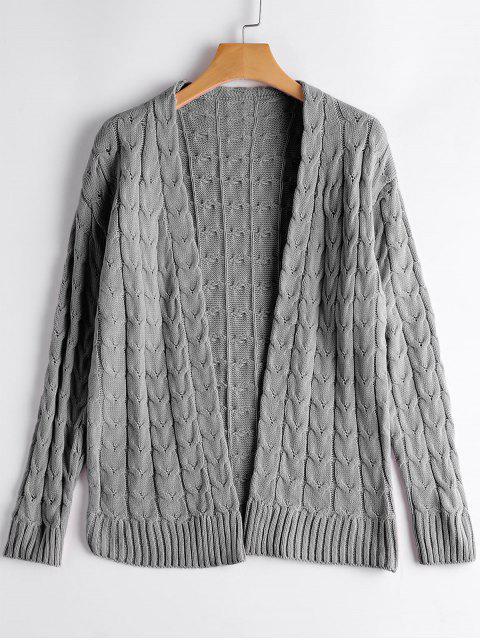 Cardigan Tressé Câble Épaules Dénudées - Gris Taille Unique Mobile