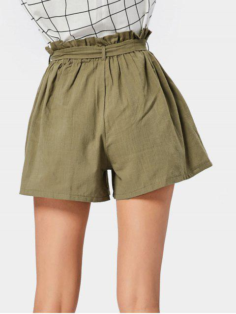 Smocked High Waist Belted Shorts ARMY GREEN: Shorts ONE SIZE | ZAFUL