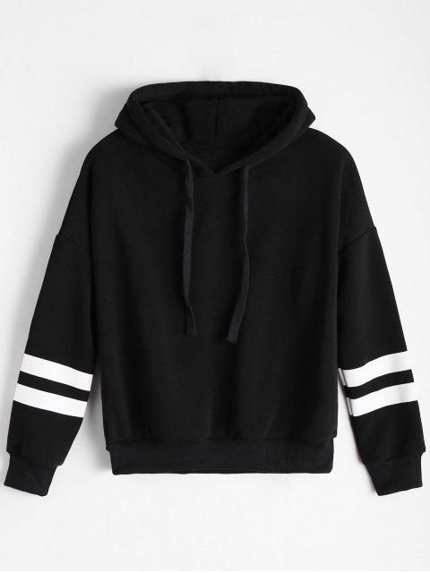 latest Drop Shoulder Striped Drawstring Hoodie - BLACK ONE SIZE Mobile