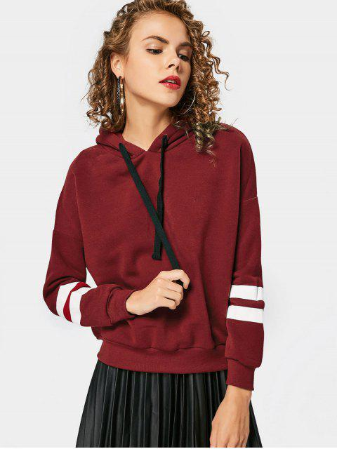 Drop Shoulder Striped Drawstring Hoodie - Vino Rojo Única Talla Mobile