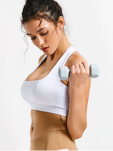 best Mesh Panel Crisscross Cutout Sports Bra - WHITE XL Mobile