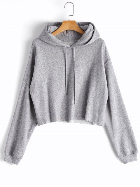 women's Cropped Drop Shoulder Pullover Hoodie - GRAY L Mobile