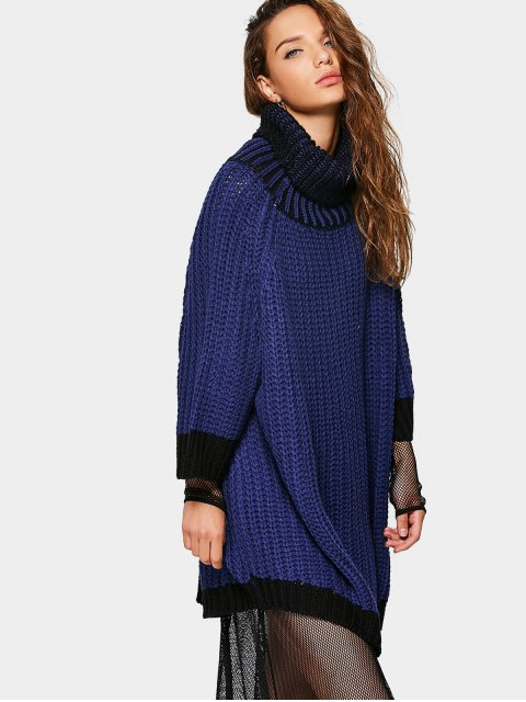 lady Overisized Turtleneck Cable Knit Sweater - DEEP BLUE ONE SIZE Mobile
