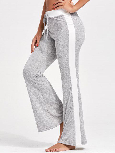 Pantalon évasé à Smple Rayure à Cordon de Serrage - gris XL Mobile