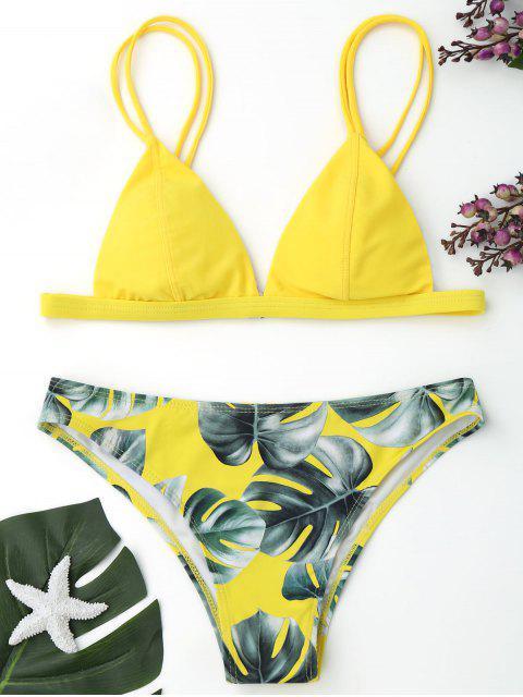 Bikini Imprimé Feuilles de Palmier - Jaune S Mobile