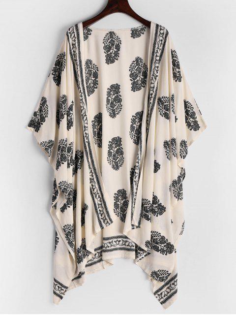 Asymmetrische Lange Bluse mit Blätter Druck - Schwarz L Mobile