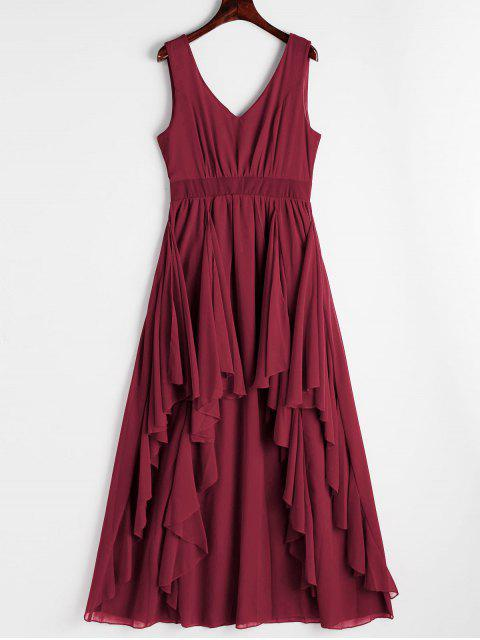 women Plunging Neck Open Back Tiered Dress - DEEP RED M Mobile