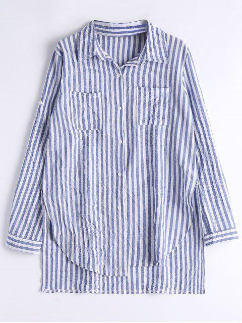 Stripes Slit High Low Camisa - Raya M Mobile