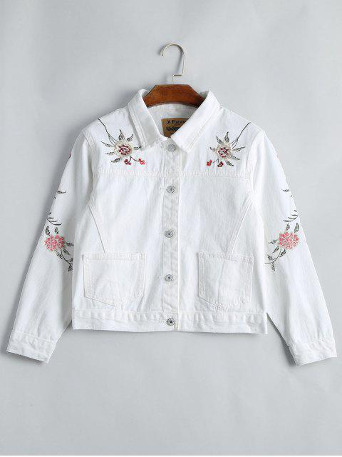 women Button Up Floral Embroidery Denim Jacket - WHITE S Mobile