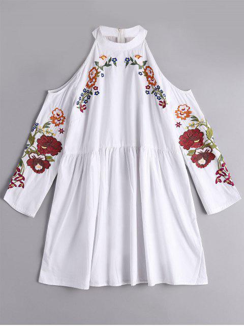 Blouse Brodée Florale à Épaules Nues - Blanc S Mobile