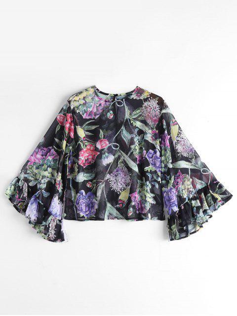 Floral Flounces Ver a través de la blusa - Floral M Mobile