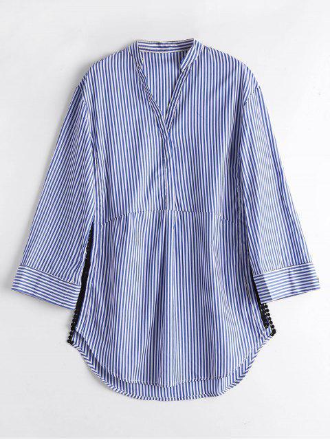 Longline Crochet Trim Side Slit Shirt - Streifen  M Mobile