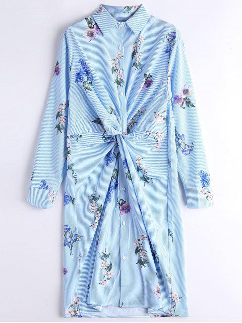 Manga larga de rayas florales twist camisa vestido - Raya S Mobile