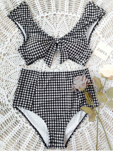 fancy Checked Tie Front High Waisted Bikini - WHITE AND BLACK M Mobile