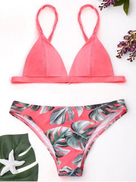 Cami Palm Leaf Print Bikini - Pink S Mobile