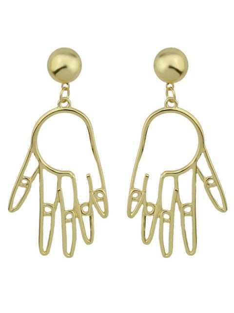 outfit Metal Hand Ball Funny Earrings - GOLDEN  Mobile