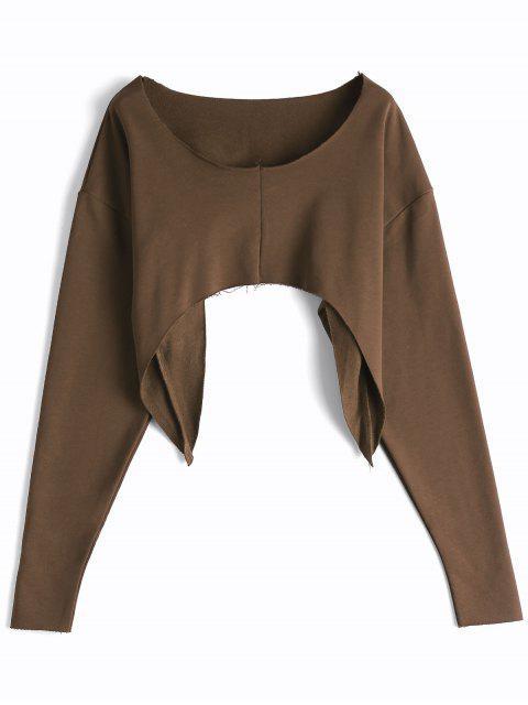 Asymmetrisches Strassenmode Crop Sweatshirt - Kaffee Eine Größe Mobile