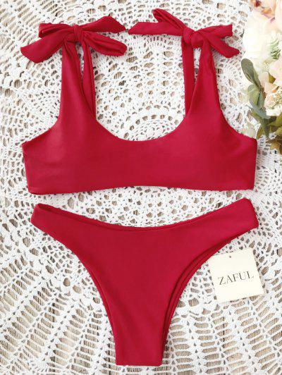 Scoop Tie Shoulder Padded Bathing Suit - Red M