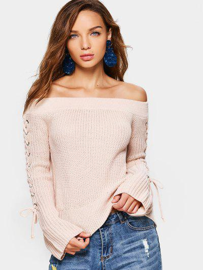 Lace Up Off Shoulder Sweater - Pink