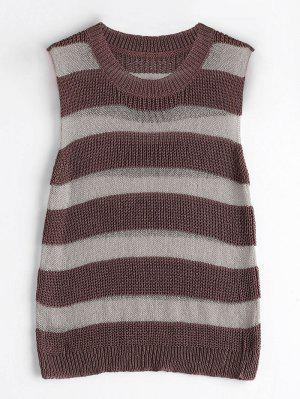 Striped Knitted Tank Top - Coffee
