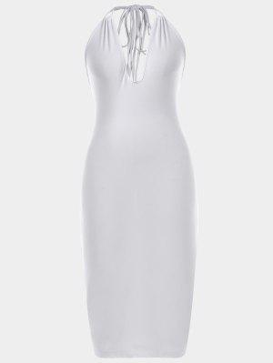 Halter Bodycon Dress - White - White S
