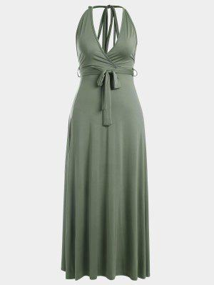 Halter Slit Backless Maxi Dress - Army Green M