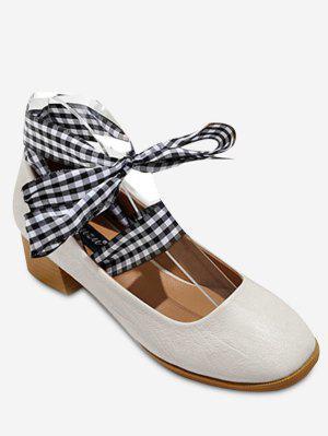 Square Toe Block Heel Tie Up Pumps - Apricot 39