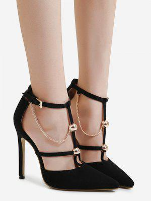 Metal Chains T-strap Faux Suede Pumps - Black 39