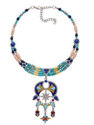 Statement Beaded Teardrop Bib Necklace - Blue