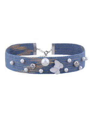 Faux Pearl Butterfly Denim Choker Necklace - Denim Blue